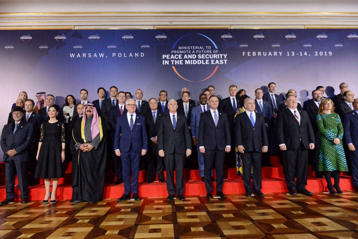 WARSAW, FEBRUARY 13, 2019. FAMILY PHOTO OF HEADS OF DELEGATIONS AT THE ROYAL CASTLE IN WARSAW. A MINISTERIAL MEETING IN WARSAW WAS ORGANIZED JOINTLY BY POLAND AND THE UNITED STATES ON PEACE AND SECURITY IN THE MIDDLE EAST.© JAKUB KAMIŃSKI (PAP)