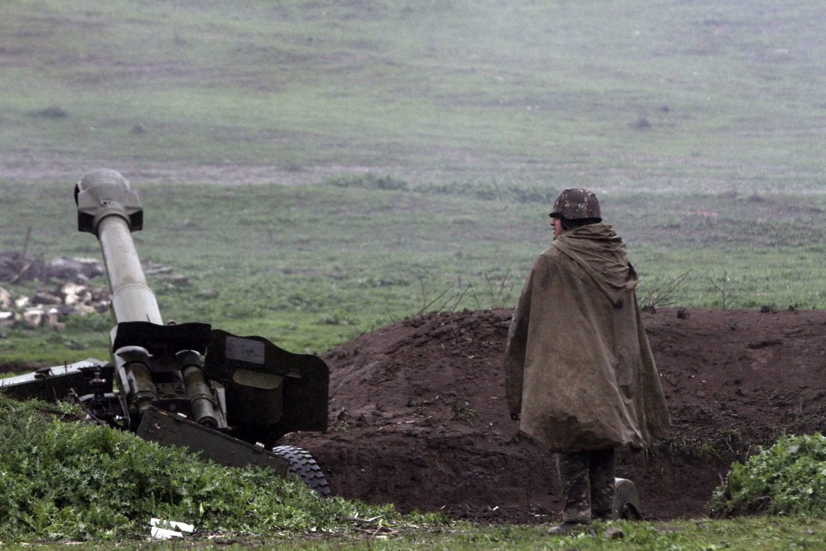 ARMENIAN ARTILLERY POSITION OF THE SELF-DEFENSE ARMY OF NAGORNO-KARABAKH IN MARTAKERT, NAGORNO-KARABAKH REPUBLIC, 03 APRIL 2016. ACCORDING TO MEDIA REPORTS, DOZENS HAVE DIED DURING CLASHES THAT ERUPTED ON 01 APRIL 2016 AS PART OF A TERRITORIAL CONFLICT BETWEEN ARMENIA AND AZERBAIJAN IN NAGORNO-KARABAKH REPUBLIC. AZERBAIJAN ARMED FORCES REPORTEDLY ATTACKED SELF-PROCLAIMED NAGORNO-KARABAKH REPUBLIC, WHICH HAS BEEN CONTROLLED BY ETHNIC ARMENIANS SINCE 1994. RUSSIAN PRESIDENT VLADIMIR PUTIN CALLED FOR A CEASEFIRE.  EPA/VAHRAM BAGHDASARYAN / PHOTOLURE