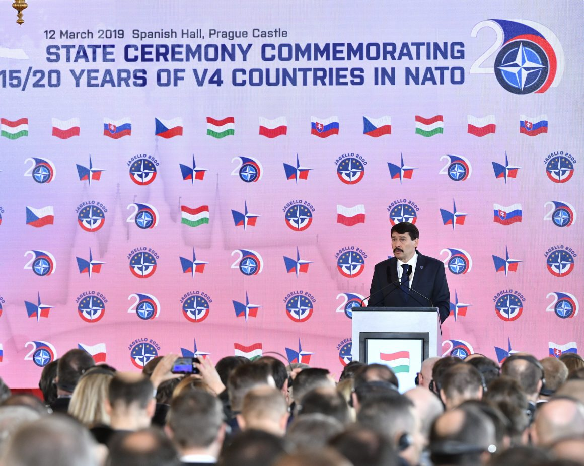 HUNGARIAN PRESIDENT JANOS ADER ADDRESSES A CEREMONY MARKING THE 20TH ANNIVERSARY OF THE ACCESSION OF THE CZECH REPUBLIC AND THE REST OF THE VISEGRAD FOUR (V4) COUNTRIES INCLUDING HUNGARY, POLAND AND SLOVAKIA TO THE NORTH ATLANTIC TREATY ORGANIZATION (NATO), IN PRAGUE, CZECH REPUBLIC, 12 MARCH. © ZSOLT SZIGETVARY (PAP/EPA)